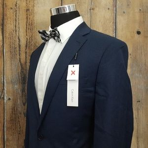 Calvin Klein Slim Sport Coat Mens 44L Wool Blue
